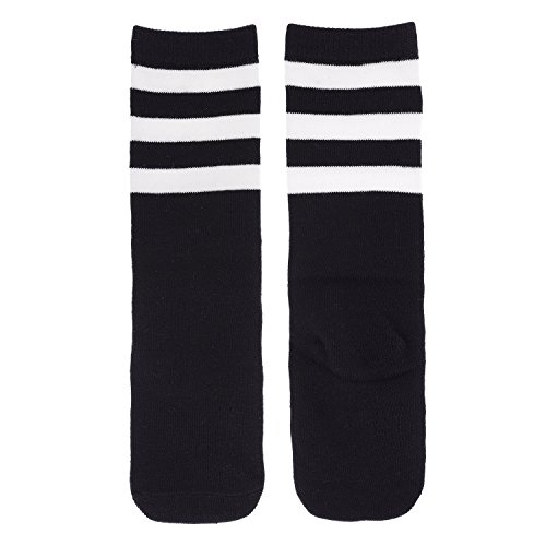 Durio Kids Athletic Over Knee Tube Stripe Thigh High Stockings Stretchy Soccer Team Socks for Little Boys Girls 1 Pack Black White One (Solid Game Football Pant)
