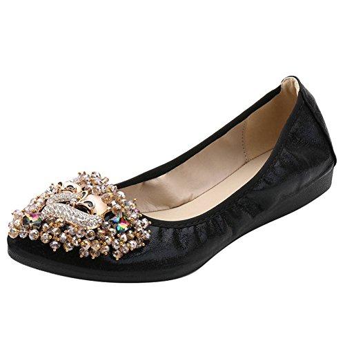 Charm Foot Womens Comfort Beaded Casual Flat Pump Shoes Black vBbeNV366
