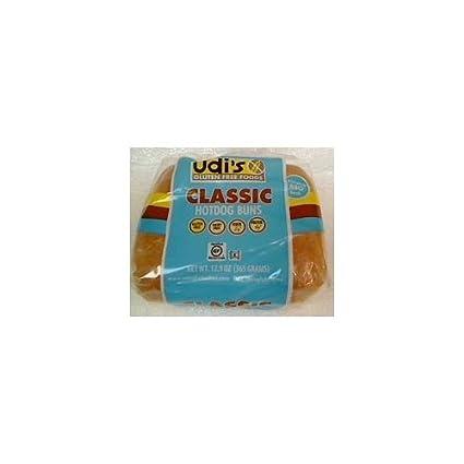 Udis Gluten Classic Hotdog Buns 12,9 oz - Caja de 6 (6 ...
