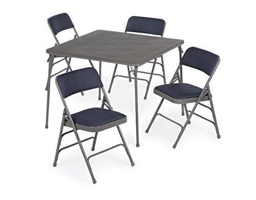 5pc. XL Series Folding Card Table and Triple Braced Fabric Padded Chair Set, Commercial Quality (Blue) by Folding Chairs and Tables