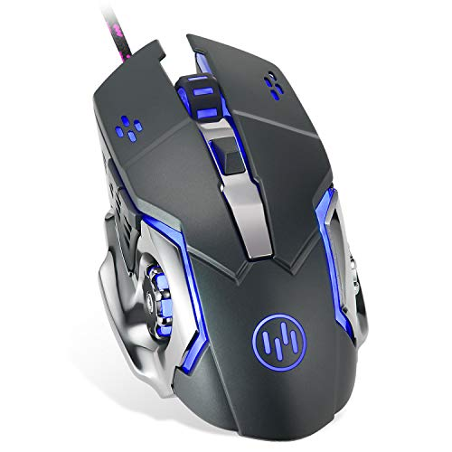 VEGCOO C15 Laser Gaming Mouse, Ergonomic 9200 DPI High Precision USB Wired Optical Mouse Mice with 6 Programmable Buttons 4 Color Cycle Breathing for Laptop PC Computer Games and Office (C15 Black)