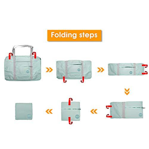 WANDF Foldable Travel Duffel Bag Luggage Sports Gym Water Resistant Nylon (Mint Green)
