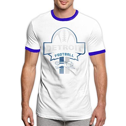MiiyarHome Men's Ringer T-Shirt Detroit Lions Live, Men Short Sleeves Jersey Causal Tee Blue XL