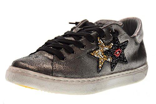 2 STAR Frauen niedrige Turnschuhe Schuhe 2SD 1653 ANTRACITE Antracite glitter