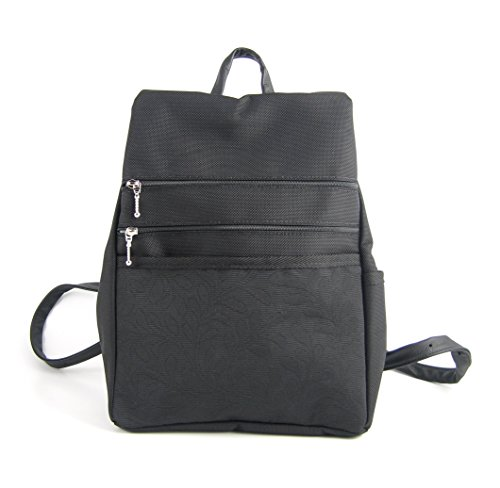 GreatBags Med Backpack Purse, Black Side Entry G20L by GreatBags