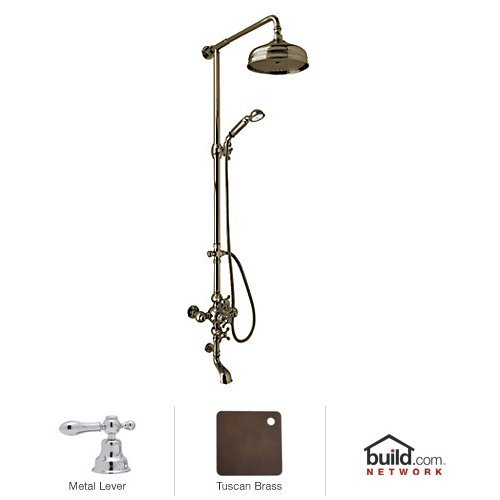 - Rohl AC414L-TCB Cisal Shower System with Exposed Thermostatic Valve, Shower Head, Tuscan Brass