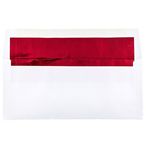 JAM PAPER #10 Business Foil Lined Envelopes - 4 1/8 x 9 1/2 - White with Red Foil - ()