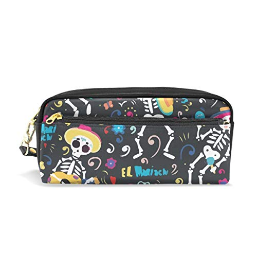 Mexican Skull Day of Dead PU Leather Cosmetic Bag Makeup Pouch Pen Pencil Case Coin Purse Travel