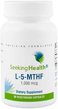 Seeking Health L-5-MTHF | 60 Capsules | Methylation Support Supplement | Methylfolate | Pure Folate 1000 | MTHFR Supplements