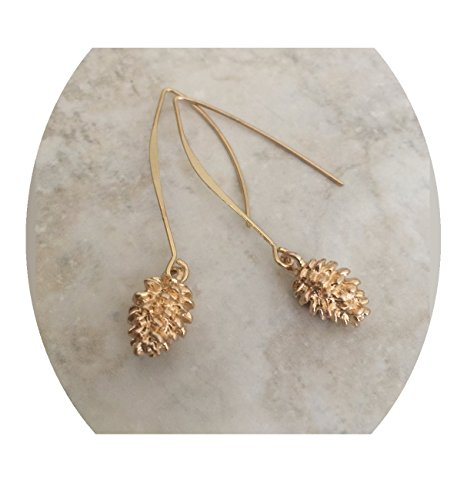Tiny Pinecone Earrings Plated 2