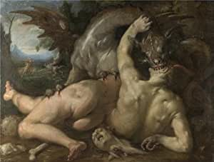 Cotton Canvas ,the Amazing Art Decorative Canvas Prints of oil painting 'Cornelis van Haarlem - Two Followers of Cadmus devoured by a Dragon,1588', 10x13 inch / 25x34 cm is best for Nursery decoration and Home decoration and Gifts
