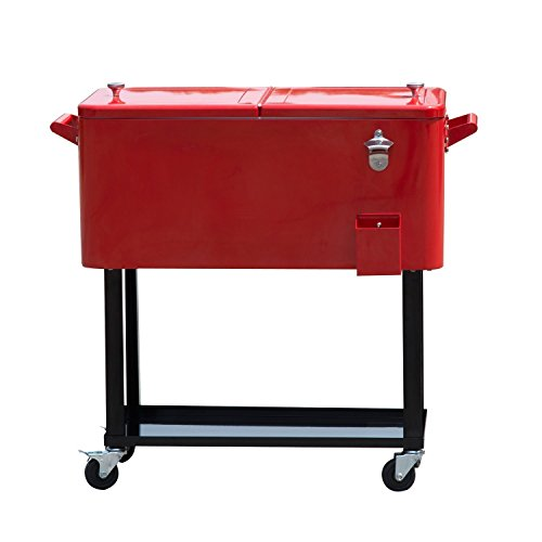 (Tenive 80-quart Retro Cooler Patio Rolling Matel Cooler Steel Ice Chest Portable Patio Party Bar Drink Entertaining Outdoor Cooler Cart - Red)