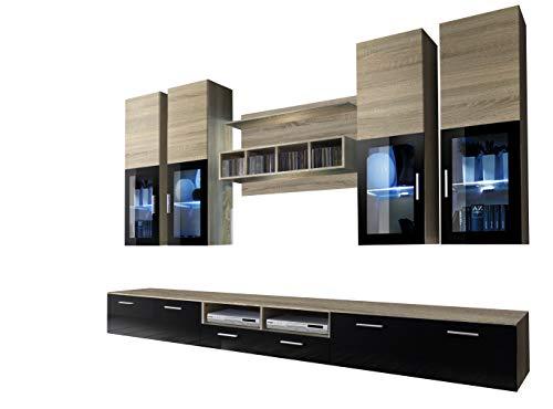muebles bonitos – Mueble de Salon Modelo Acosta Color Sonoma con Negro (3 m)