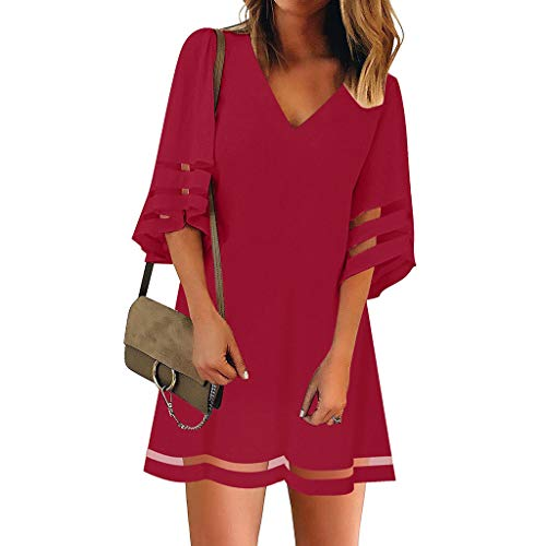 Women's Summer Mini Shirt Dress Casual Solid Mesh Panel 3/12 Bell Sleeve Loose Cocktail Party Dresses Beach Sundress