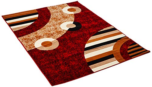 Sweet Home Stores Modern Circles Design Area Rug, Red by Sweet Home Stores (Image #2)
