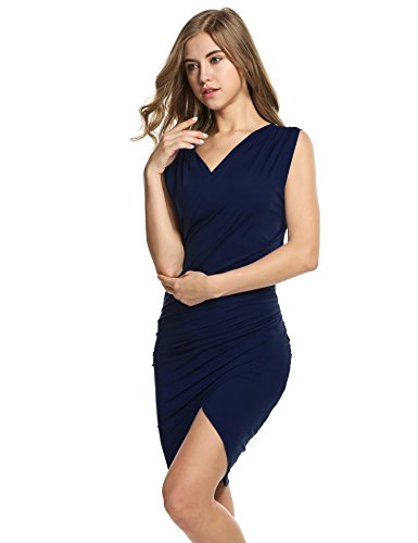 Women's Pencil Cocktail Sleeveless Ruched Party Neck Navy V Dresses Bodycon Blue Beyove Dresses Summer dwv46dq