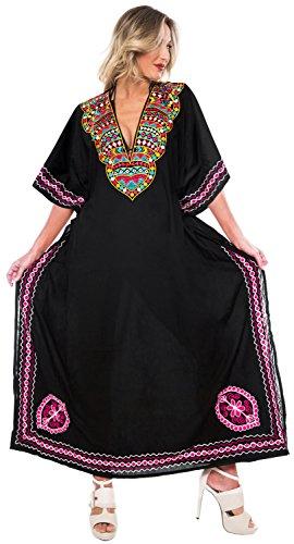 delle LEELA spiaggia n418 coprire stilista da da kaftan LA donne kimono lunga costume del bagno maxi bagno Nero costumi vqdURcEwW