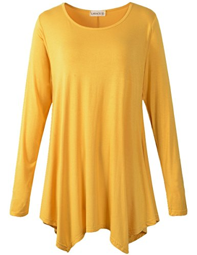 LARACE Womens Long Sleeve Flattering Comfy Tunic Loose Fit Flowy Top (1X, Yellow)