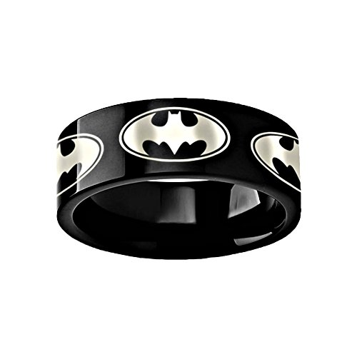 Thorsten Batman Dark Knight Super Hero Black Tungsten Inside Engraved 8mm Wedding Band Ring Custom Personalized Inside Engraved from Roy Rose Jewelry ()