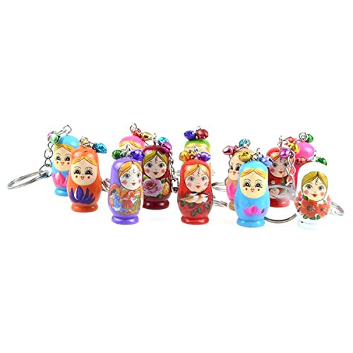Wooden Keychain NUOLUX Matryoshka Dolls Phone Charms Handbag Pendants 12pcs