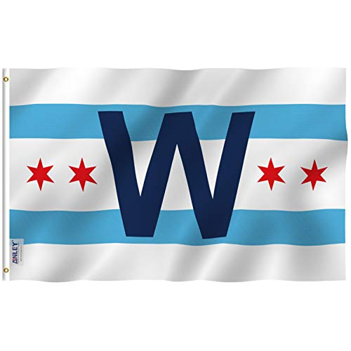 Anley Fly Breeze 3x5 Foot Chicago Cub Win Combo Flag - Vivid Color and UV Fade Resistant - Canvas Header and Double Stitched - Chicago City W Wrigley Field Flags Polyester with Grommets 3 X 5 Ft ()