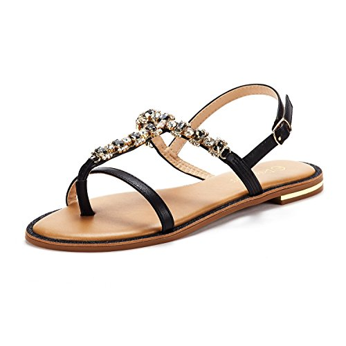 - DREAM PAIRS Women's Black T-Strap Flat Sandals Size 6.5 M US