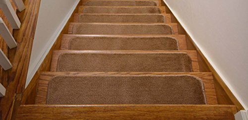 Comfy Collection Stair Tread Treads Indoor Skid Slip Resistant Carpet Stair Tread Treads Machine Washable 8 ? inch x 28 inch (Set of 7, Beige) by Rug Style by Rug Style