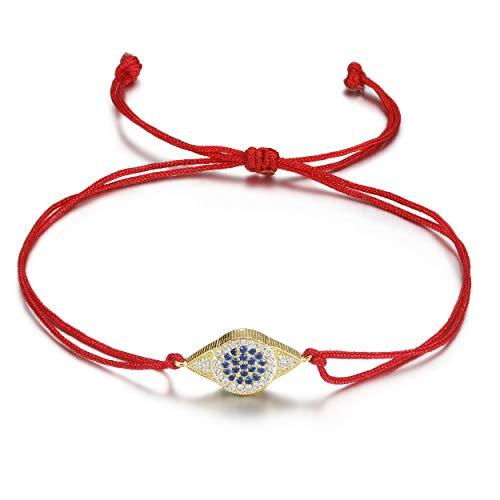 JINBAOYING Hamsa Evil Eye Bracelet with Cubic Zirconia String Kabbalah Adjustable Bracelet Handmade Charm Bracelets for Women Men Girls Boys (Evil Eye Bracelet New (Red)) -