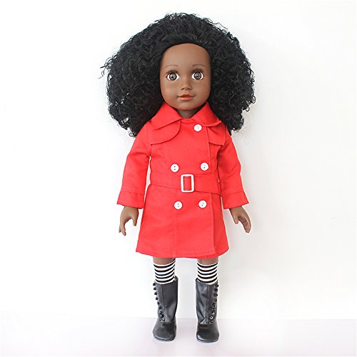 18' Barbie (African Feature 18 Inch Black Dolls With Afro Hair - Black Girl Doll Dressed With Red Outfit, Mini White Panties, Stripe Stockings, Black Boots, Gift Cloth Bag Packed)