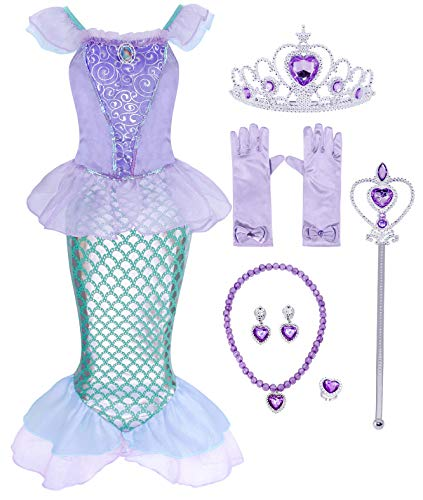 Cotrio Little Mermaid Costume Dress Girls Princess Dresses Halloween Outfits with Accessories for 2-10Years (3T, 2-3Years, Gloves, Tiara, Scepter, Necklace, Ring,Earrings) -