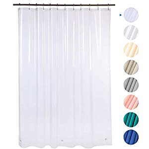 AmazerBath Plastic Shower Curtain, 72″ W x 72″ H EVA 8G Shower Curtain with Heavy Duty Clear Stones and 12 Grommet Holes Thick Bathroom Plastic Shower Curtains Without Chemical Odor-Clear