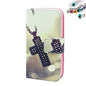 Cross Pattern PU Leather Full Body Case with Card Slot and Stand for iPhone 4/4S