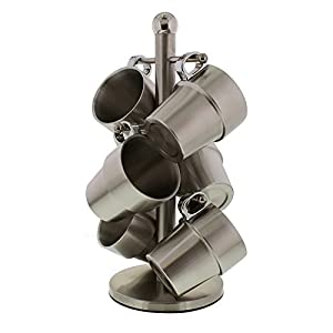 Cheftor 6 Pieces Stackable Insulated Brushed Stainless Steel Double Wall Mug Tree Tea Cups with Three Stand Holder for Home and Office