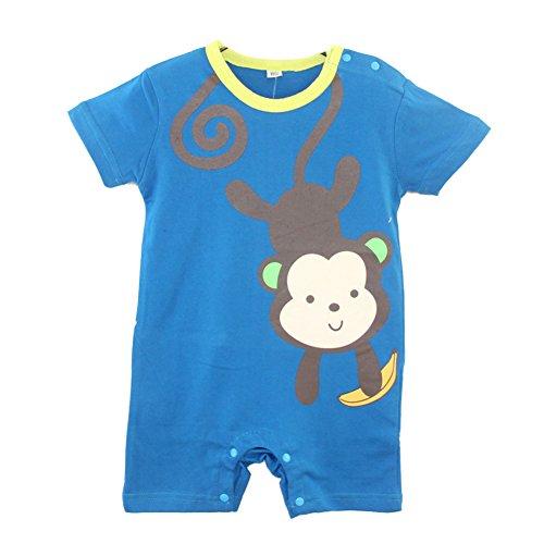 Fairy Baby Little Boy Shortall Lightweight Summer Outfit,6-12M,Blue Monkey