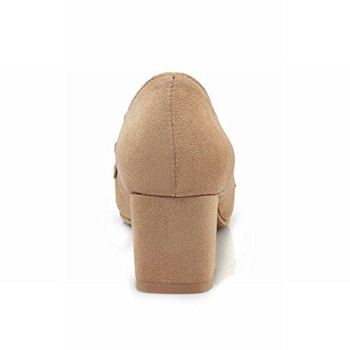 Mee Shoes Damen Chunky Heels Vierkant Geschlossen Pumps Aprikose