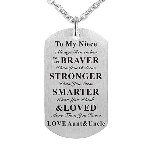 Kisseason to My Niece Gift Jewelry Dog Tag Keychain Pendant Necklace from Aunt and Uncle