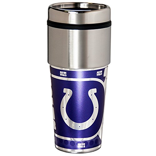 Indianapolis Colts Nfl Tumbler (NFL Indianapolis Colts 16 oz. Stainless Steel Travel Tumbler with Metallic Graphics, One Size, Team Color)