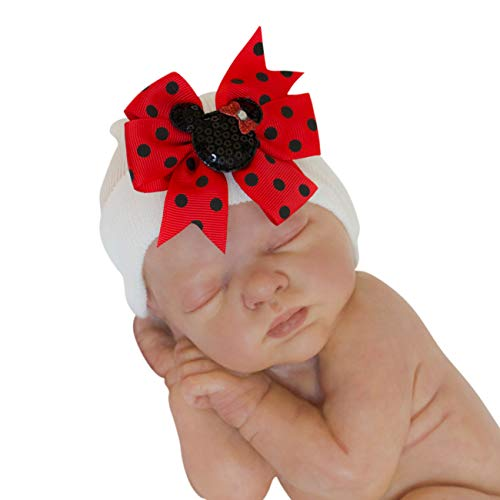 Infant Hat with Bows | Girl Baby Beanie Hats (Red)