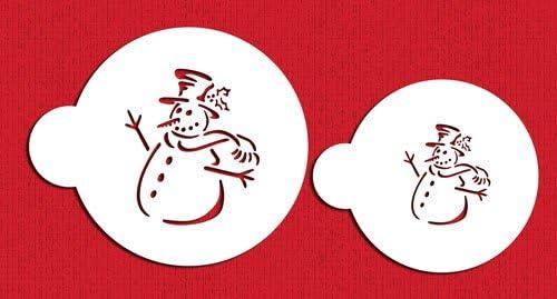Beige//semi-transparent designer stencils C180 Snowman Cake Stencils
