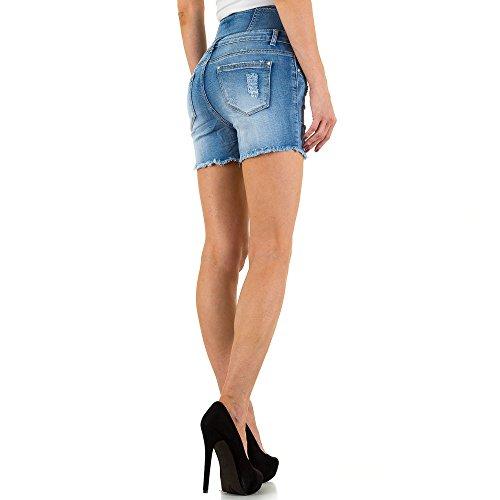 Destroyed High Waist Jeans Shorts Für Damen , Blau In Gr. M bei Ital-Design