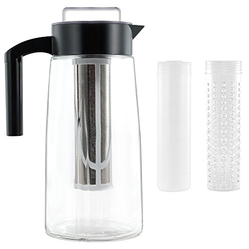 Cooking Upgrades 60oz Glass Cold Brew Coffee Maker and Tea Maker With Ice And Fruit Infuser Inserts Included (Black) by Cooking Upgrades (Image #8)