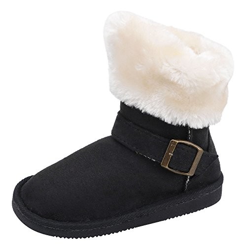 Girls Faux Suede Boots (Kids Sherpa Lined Faux Suede Winter Girls Boots with Buckle & Fur Trim Black 11)