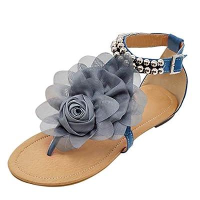 Lurryly Summer Women's Sandals Bohemian Flowers Flat Shoes Belt Buckle Clip Toe Sandals