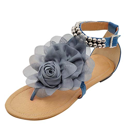 (JJLIKER Women Flower Beaded Beach Flip Flops Ankle Buckle Strap Shoes Fashion Vacation Comfort Flat Sandals Blue)