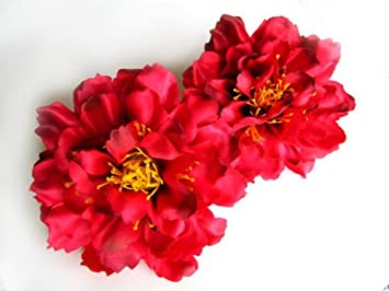 Amazon 4 silk red peony flower heads 4 artificial 4 silk red peony flower heads 4quot artificial flowers peonies head mightylinksfo
