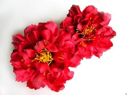 Amazon 4 silk red peony flower heads 4 artificial 4 silk red peony flower heads 4quot artificial flowers peonies head mightylinksfo