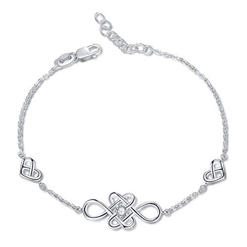 YFN Celtic Knot Earrings Bracelet Sterling Silver Polished Good Luck Jewelry for Women Teen Girls (Celtic Knot Love Bracelet)