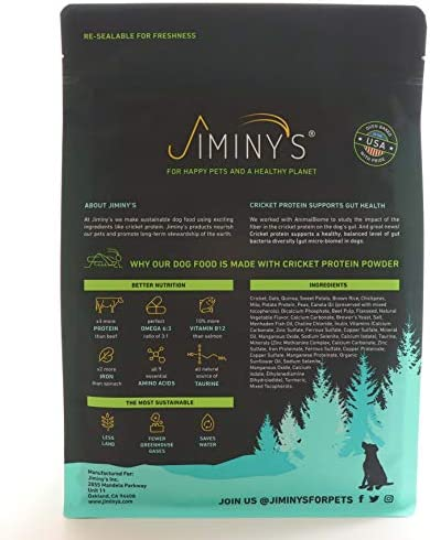 Jiminy's Cricket Crave Cricket Protein Oven-Baked Dog Food 3.5 lb Bag 100 Made in The USA Gluten-Free Sustainable Limited Ingredients High Protein Hypoallergenic