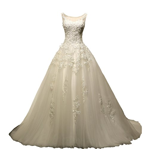VIVIANSBRIDAL Ball Gown Bateau Neck Tulle Wedding Dresses Made In China Size US 10 Ivory (Wedding Dress Made In China White)