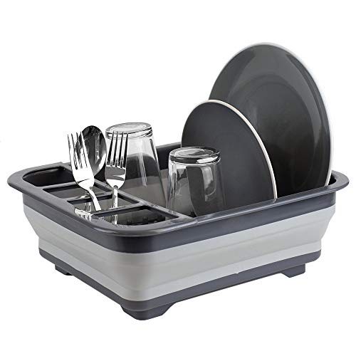 Home Basics Silicone and Plastic Easy Storage Collapsible Dish Rack with Cutlery Holder (Grey) ()